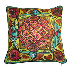 "Karen La Du & Joseph Macaya for Decorative Philosophy - Las Brisas Pillow - This 24"" x 24"" Cotton Canvas pillow is piped with 1/4"" black linen piping all around. It is zippered and  dry cleanable .  Back is blank except for the artists' signatures. It is a one of a kind, hand painted.  It is sold without a pillow form so you may customize it to your pillow preference. They make an incredible statement on a sofa on in a covered area outside."