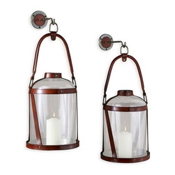 Interlude - Interlude Alta Vista Leather Grand Lantern - Pair - With their timeless style the Alta Vista Hurricanes are sure to bring old world charm to any environment.  Here they are done in a hand oiled tan leather adding to their character.