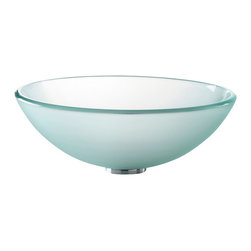 Kraus - Kraus Frosted Glass Vessel Sink - *Fashionable bathroom sink is the perfect harmony of elegance and style