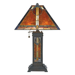 Quoizel - Quoizel 2 Light San Gabriel Table Lamp in Valiant Bronze - NX615TVA - In 1920, museum of international folk art founder, Florence Dibell Barlett first visited new Mexico and stayed at the well-known San Gabriel Ranch. In the 1930's she bought and lovingly restored the 70-acre ranch renaming it el mirador. Ms. Bartlett loved bright colors and light-filled rooms so she added a number of stained glass windows. The glass maker adapted her favorite native American beadwork patterns into the designs. The window over the front door provided the inspiration for this piece