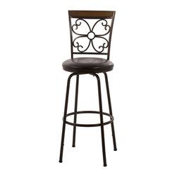 Hillsdale - Hillsdale Garrison Swivel Bar Stool with Nested Leg in Dark Brown - Hillsdale - Bar Stools - 5431830