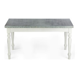 """Kingston Krafts - Middleton Zinc Top Dining Table - Made in USA, 6 Foot - Meet """"The Middleton"""" by Kingston Krafts! It's natural and modern elements combine to transform a transitional and unique focal piece. Fabricated by hand, PURE zinc is sheeted over a FSC certified substrate. A signature acid wash is applied for a time worn look. Fitted with a classic french farmhouse style base constructed with of ash wood in a white distressed finish. Simple, classic, and timeless!"""
