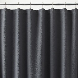 Pebble Matelasse Grey Shower Curtain - The pebbled effect of matelasse weaving brings the texture of finely quilted fabric to the bath, making a subtle, textural show of if its deep grey color.