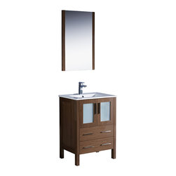 "Fresca - Fresca Torino 24"" Walnut Brown Vanity w/ Integrated Sink - Dimensions of Vanity:  24""W x 18.13""D x 33.75""H. Dimensions of Mirror:  20.75""W x 31.5""H x 1.25""D. Materials:  Plywood w/ veneer, ceramic sink w/ overflow. Single hole faucet mount. P-trap, faucet, pop-up drain and installation hardware included. Fresca is pleased to usher in a new age of customization with the introduction of its Torino line.  The frosted glass panels of the doors balance out the sleek and modern lines of Torino, making it fit perfectly in either town or country decor.  Available in the rich finishes of Espresso, Glossy White, Light Oak and Walnut Brown."