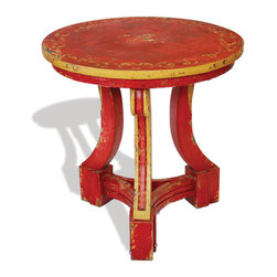 Koenig Collection - Chinese Accent Table Dante, Red Baroque With Scrolls - Chinese Accent Table Dante, Red Baroque with Scrolls