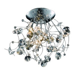 "PWG Lighting / Lighting By Pecaso - Geraldene 6-Light 22"" Crystal Flush Mount 1761F22C-EC - The Geraldene Collection adds a touch of whimsy to interiors. Clusters of crystal flowers sparkle on delicately designed chrome finished frames."