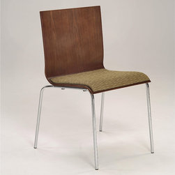 None - Bent Plywood and Chrome Woven Upholstered Seat Stacking Chair (Set of 2) - A sleek modern design of bent plywood and polished chrome highlights this stacking chair. A woven upholstered seat in warm hay color,adds softness and comfort to this light weight and highly durable chair.