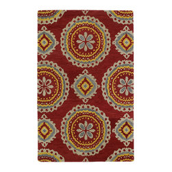 Kaleen - Kaleen Global Inspirations Collection GLB09-25 8' x 10' Red - The Global Inspirations collection brings you beautiful motifs influenced by d_cor from all over the world. You no longer need to wander the streets of Europe or Asia looking for that hidden gem, our Global Inspirations collection found it for you!  Each rug is hand-tufted in India from 100% of the very finest wool, to achieve today's hottest worldly designs and patterns.