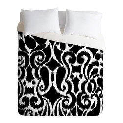 DENY Designs - Khristian A Howell BW Eloise Duvet Cover - Turn your basic, boring down comforter into the super stylish focal point of your bedroom. Our Luxe Duvet is made from a heavy-weight luxurious woven polyester with a 50% cotton/50% polyester cream bottom. It also includes a hidden zipper with interior corner ties to secure your comforter. it's comfy, fade-resistant, and custom printed for each and every customer.