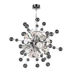 PLC Lighting - Circus Modern Clear & White Glass Chandelier - A style icon. Circus tenders an ultra-modern and intriguing design. Housing sixteen lamps, this chandelier distributes even lighting through its glass work. A plethora of clear glass spheres orbit sporadically around this fixtures metalwork, expertly finished in polished chrome. Adding to its intrigue, glass pieces in flower-like shapes are arranged in a sphere at the chandelier's center. An ideal piece for any modern space.