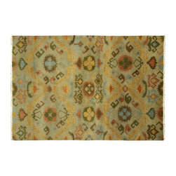 """Manhattan Rugs - New Design Hand Knotted 5' 7"""" X 8' 0"""" Ikat Uzbek Ivory Wool Oriental Rug H3317 - This is a true hand knotted oriental rug. it is not hand tufted with backing, not hooked or machine made. our entire inventory is made of hand knotted rugs. (all we do is hand knotted)"""
