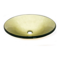 "Legion Furniture - Round Glass Vessel Sink 189 - This round shaped bowl is made of high quality tempered glass. Sink color is transparent gold.  Material: Double Layer Tempered Glass; Color: Transparent Gold; Dimensions: 16.5"" X 5.5""; Thickness: 0.5""; Drain Hole: 1.75""; Weight: 15 lbs; Installation: Top Mount; Included: Chrome Pop-Up Drain and Mounting Ring; Not Included: Faucet."