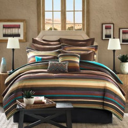 E & E Co., Ltd. - Tahoe 12-Piece Comforter Superset - Bring a distinct Southwestern flavor to your bedroom with the Tahoe bedding superset. This comforter set comes with everything you need to give your bedroom a brand new look.