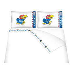 Sports Coverage - Sports Coverage NCAA Kansas University Jayhawks Microfiber Sheet Set - Queen - NCAA Kansas University Jayhawks Microfiber Sheet Set have an ultra-fine peach weave that is softer and more comfortable than cotton! This Micro Fiber Sheet Set includes one flat sheet, one fitted sheet and a pillow case. Its brushed silk-like embrace provides good insulation and warmth, yet is breathable. It is wrinkle-resistant, stain-resistant, washes beautifully, and dries quickly. The pillowcase only has a white-on-white print and the officially licensed team name and logo printed in team colors. Made from 92 gsm microfiber for extra stability and soothing texture and 11 pocket. Sheet Sets are plain white in color with no team logo. Get your NCAA Sheets Today.   Features:  -  92 gsm Microfiber,   - 100% Polyester,    - Machine wash in cold water with light colors,    -  Use gentle cycle and no bleach,   -  Tumble-dry,   - Do not iron,