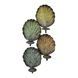 13.5 X 4.33 X 29.25 IN Metal Wall Scone - Multicolored beach shell metal wall sconce