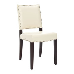 Safavieh Furniture - Benjamin Cream Bicast Leather Nailhead Side C - Set of 2. Antique bronze finished nail heads outline the seat and back. Provides a handsome contrast to wood mount cream colored bicast leather. No assembly required. 22 in. W x 17.3 in. D x 35 in. H (10 lbs.)