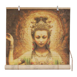Oriental Furniture - Kwan Yin with Lotus Bamboo Blinds - (72 in. x 72 in.) - This all natural bamboo matchstick blind features a stunning, high resolution portrait of Kwan Yin, the bodhisattva of compassion. A beloved figure in East Asian Buddhism, this Kwan Yin blind makes a beautiful and meaningful window display.