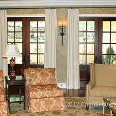 Eclectic Family Room by Camille Moore Window Treatments & Custom Bedding