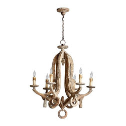 Cyan Design - Cyan Design Lighting Galleon Chandelier 05147 - This intricate antiqued wood chandelier channels the romance of Spanish treasure ships and the high seas. We love its warmth and character!