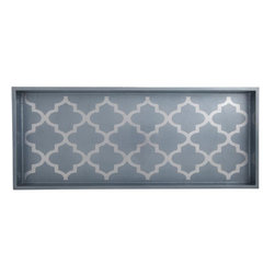 Belle & June - Arabesque Blue/Silver 2-Drink Tray - Think outside the tray when you look at this gorgeous silver and blue accent piece. Organize jewelry, makeup and brushes. Display your liqueur decanters or perfume bottles. Or just let it shine alone on your sideboard or buffet.