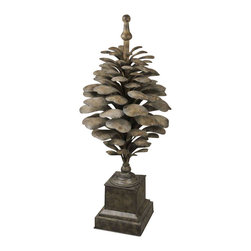 Uttermost Suzuha Large Metal Finial - Antiqued, aged ivory with burnishing. Indoor/outdoor finish. This decorative finial is suitable for indoor or outdoor use. The finish is antiqued, aged ivory with burnishing details.