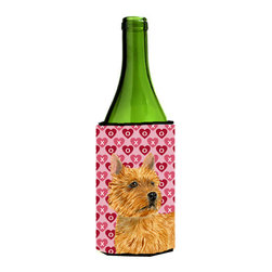Caroline's Treasures - Norwich Terrier Hearts Love Valentine's Day Portrait Wine Bottle Koozie Hugger - Norwich Terrier Hearts Love and Valentine's Day Portrait Wine Bottle Koozie Hugger Fits 750 ml. wine or other beverage bottles. Fits 24 oz. cans or pint bottles. Great collapsible koozie for large cans of beer, Energy Drinks or large Iced Tea beverages. Great to keep track of your beverage and add a bit of flair to a gathering. Wash the hugger in your washing machine. Design will not come off.