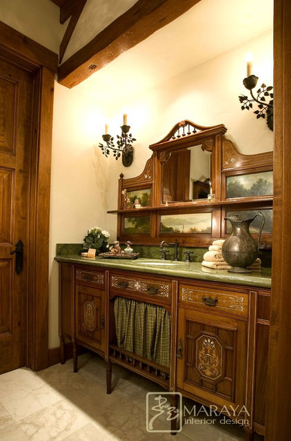 traditional powder room by Maraya Interior Design