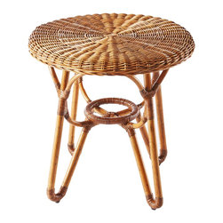 Selamat Designs - Bodega Side Table - Natural - Finely woven rattan core with skin is woven over a rattan pole frame with a complete woven seat with rattan wrappings on the joint.
