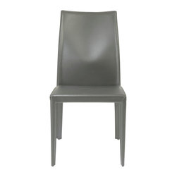 Euro Style - Dafney Leather Chair - Gray - Looking for an all leather chair with a durable frame? The Dafney is all leather seat, back and leather covered legs. So you get both the luxury and status of leather in a steel framed chair that could actually survive you!