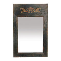 Sterling Industries - Weathered Reflection Mirror - This mirror features a wonderful antiqued rustic wooden frame.  The frame is finished with a rustic dark finish, and the top has designed insignia the is a antique caramel color.  A beautiful mirror that will warm any interior.