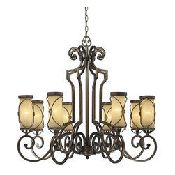 Minka-Lavery - Atterbury Deep Flax Bronze Eight-Light Chandelier - -Venata de Oro Glass Minka-Lavery - 4238-288