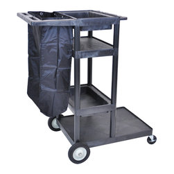 Luxor - Luxor Janitorial Cart - JCB40-B - This JCB40-B Janitorial cart is made from heavy-duty polyethylene construction. The structural foam molded cart will not chip, crack or rust