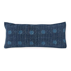 Resist Dot Indigo Kantha Double Boudoir Pillow - 15 x 35 - Beautiful in its simplicity, the Resist Dot Indigo Kantha Double Boudoir Pillow features circles of lighter color in a stunning deep indigo background, while a dynamic series of white dots blends with the traditional white running-stitch quilting used to create a secure, attractive finish.  Welted edges in the same rich dark blue enhance the fullness of this long rectangular pillow.