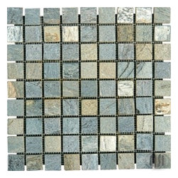 "Gold Green Tumbled Quartzite Mosaic Tiles - Gold Green Tumbled Quartzite Mosaic Tiles in 1 in. x 1 in. Meshed on 12"" x 12"" sheets. Strictly selected; consistent in color, sizing and finish Larger quantities are readily available in full pallets and containers. Suitable for commercial and residential projects (Interior as well as exterior surface covering applications) Meets your needs at a very low cost."