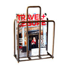 "BoBo's Intriguing Objects - Magazine Holder - Are your People fighting with that New Yorker again? Get them all in line with this vintage-inspired magazine holder. It's made of curvy brass tubes with feet and a center divider that doubles as a handle. Magazines not your thing? It'd make a great ""hot"" file organizer in your office."