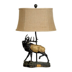 """Crestview - Crestview CIAUP500 The Challenge Table Lamp - The Challenge Table Lamp Chestnut Bronze Finish Resin Table Lamp (10/15 x 12/18 x 10"""" Natural Burlap Shade) 3-way 100w max wattage bulb 28.25"""" Ht."""
