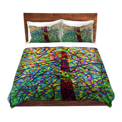 DiaNoche Designs - Duvet Cover Microfiber Twin from DiaNoche Designs by Mandy Budan - Kaleidoscope - DiaNoche Designs works with artists from around the world to bring unique, artistic products to decorate all aspects of your home.  Super lightweight and extremely soft Premium Microfiber Duvet Cover (only) in sizes Twin, Queen, King.  Shams NOT included.  This duvet is designed to wash upon arrival for maximum softness.   Each duvet starts by looming the fabric and cutting to the size ordered.  The Image is printed and your Duvet Cover is meticulously sewn together with ties in each corner and a hidden zip closure.  All in the USA!!  Poly microfiber top and underside.  Dye Sublimation printing permanently adheres the ink to the material for long life and durability.  Machine Washable cold with light detergent and dry on low.  Product may vary slightly from image.  Shams not included.