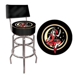 "Trademark Global - Miller High Life Girl in The Moon Padded Bar Stool with Back - Features: -Miller High Life girl in the moon padded bar stool with back. -Chrome plated double rung base. -Adjustable levelers. -Commercial grade vinyl seat. -Long lasting officially licensed logo. -Great for gifts and recreation decor. -Backrest for added comfort. -No assembly required. -7.5"" H x 14.75"" D padded seat. -Dimensions: 40"" H x 15"" W x 15"" D."