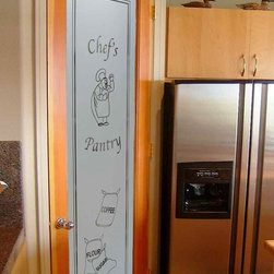 """Interior Glass Doors - Happy Chef with Sacks Pantry Door - CUSTOMIZE YOUR INTERIOR GLASS DOOR!  Interior glass doors ship for just $99 to most states, $159 to some East coast regions, custom packed and fully insured with a 1-4 day transit time.  Available any size, as interior door glass insert only or pre-installed in an interior door frame, with 8 wood types available.  ETA will vary 3-8 weeks depending on glass & door type.........Block the view, but brighten the look with a beautiful interior glass door featuring a custom frosted glass design by Sans Soucie!   Select from dozens of sandblast etched obscure glass designs!  Sans Soucie creates their interior glass door designs thru sandblasting the glass in different ways which create not only different levels of privacy, but different levels in price.  Bathroom doors, laundry room doors and glass pantry doors with frosted glass designs by Sans Soucie become the conversation piece of any room.   Choose from the highest quality and largest selection of frosted decorative glass interior doors available anywhere!   The """"same design, done different"""" - with no limit to design, there's something for every decor, regardless of style.  Inside our fun, easy to use online Glass and Door Designer at sanssoucie.com, you'll get instant pricing on everything as YOU customize your door and the glass, just the way YOU want it, to compliment and coordinate with your decor.   When you're all finished designing, you can place your order right there online!  Glass and doors ship worldwide, custom packed in-house, fully insured via UPS Freight.   Glass is sandblast frosted or etched and bathroom door designs are available in 3 effects:   Solid frost, 2D surface etched or 3D carved. Visit our site to learn more!"""