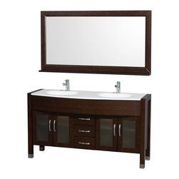 Wyndham - Daytona Double Vanity 60in. in Espresso w/ White Stone Top & White Sinks - The Daytona 60 in.  Double Bathroom Vanity Set - a modern classic with elegant, contemporary lines. This beautiful centerpiece, made in solid, eco-friendly zero emissions wood, comes complete with mirror and choice of counter for any decor. From fully extending drawer glides and soft-close doors to the 3/4 in.  glass or marble counter, quality comes first, like all Wyndham Collection products. Doors are made with fully framed glass inserts, and back paneling is standard. Available in gorgeous contemporary Cherry or rich, warm Espresso (a true Espresso that's not almost black to cover inferior wood imperfections). Transform your bathroom into a talking point with this Wyndham Collection original design, only available in limited numbers. All counters are pre-drilled for single-hole faucets, but stone counters may have additional holes drilled on-site.