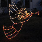 Frontgate - Lighted Outdoor Angel with Horn - Outdoor Christmas Decorations - Commercial-grade lights on a steel frame. 200 incandescent lights. 120V. UL listed. Lead cord measures 3'L. Bright reminders of grace and beauty, our Lighted Outdoor Angel with Horn makes a truly spectacular lighted display. With , the versatile design allows you to beautifully decorate walls and yards.  .  .  .  .  . Includes Y stake .