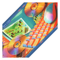 Blue Mountain Wallcoverings - 90s Retro Computers Prepasted Wall Border Roll - Features: