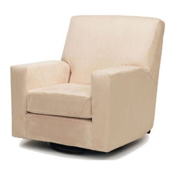 Devon Adult Glider in Beige - Consider this sleek rocker when you want a soft place to feed and nurse that doesn't overtake the room. Smooth design meets with intense lumbar comfort--and this piece will look good in any room after baby grows big.