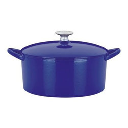 Mario Batali by Dansk Classic 4 qt. Round Dutch Oven - Blue - Cobalt blue enamel over quality cast iron? Yes, please! The Mario Batali by Dansk Classic 4 Sq. Dutch Oven in Blue is a gorgeous kitchen essential that will instantly become your favorite. Use it to simmer chili on the stove and to perfect your pot roast recipe in the oven. No need to devote an afternoon to seasoning it, or keep it away from water -- this is one cast iron pot that cooks like a pro, looks good doing it, and is safe in the dishwasher as well as on your gas, electric, induction, or ceramic-top stove. Plus, it comes with a lifetime warranty.