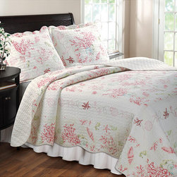 None - Coral Red 3-piece Quilt Set - This Coral Red coastal quilt set will dress your room up like a beach bungalow. The quilt has a coral and seashell print framed with embroidered shells, starfish and seahorses.