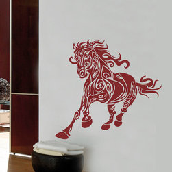 ColorfulHall Co., LTD - Vinyl Decals Fairy Magic Jungle Animals Wall Decals Runing Horse, Wine Red - Vinyl Decals Fairy Magic Jungle Animals Wall Decals Runing Horse