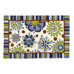 Homefires - Fun Flowers Rug - No matter what the weather, season or occasion, flowers make your home happier. Bright colors and cheerful flowers dance across this wool-like, washable accent rug bringing rays of sunshine directly into your home. SPF not included.