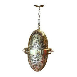"Used Moroccan Handmade Brass Pendant - Cast speckled light all over your entry way or home with this lovely Hand-crafted and high quality Moroccan brass ceiling pendant light. It has a unique combination of metal engraving and piercing. Please note, it's not wired. A 9"" long chain and canopy are included."