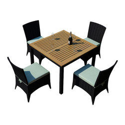 Harmonia Living - Arbor 5 Piece Outdoor Modern Patio Dining Set, Spa Cushions - Now you can dine alfresco everyday (and night) of the year with this outdoor wicker set, consisting of four side chairs and a natural teak-topped table. Each piece is designed to weather the elements beautifully, providing you with years of use.