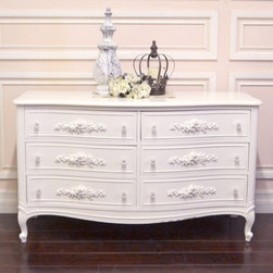 Chic White Rose 6 Drawer Dresser - This gorgeous dresser features 6 drawers. Note the lovely scroll feet! Each drawer has been adorned with lovely appliques and glass knobs. Perfect for any shabby cottage chic bedroom!